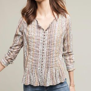 Anthropologie Maeve gelise floral button down top